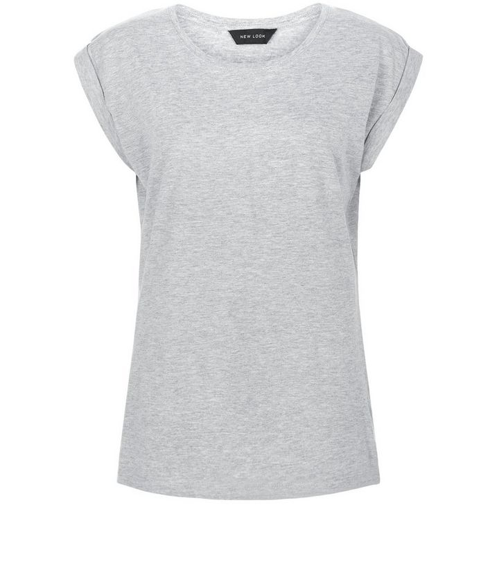 97013dab Grey Roll Sleeve T-Shirt | New Look