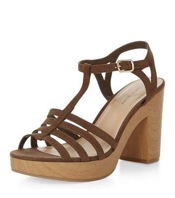 Khaki Suedette T-Bar Strappy Block Heel