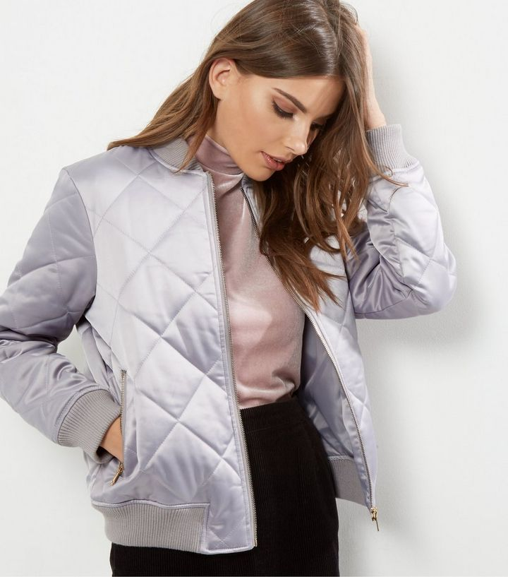 ebcb5233e8d Grey Quilted Padded Bomber Jacket