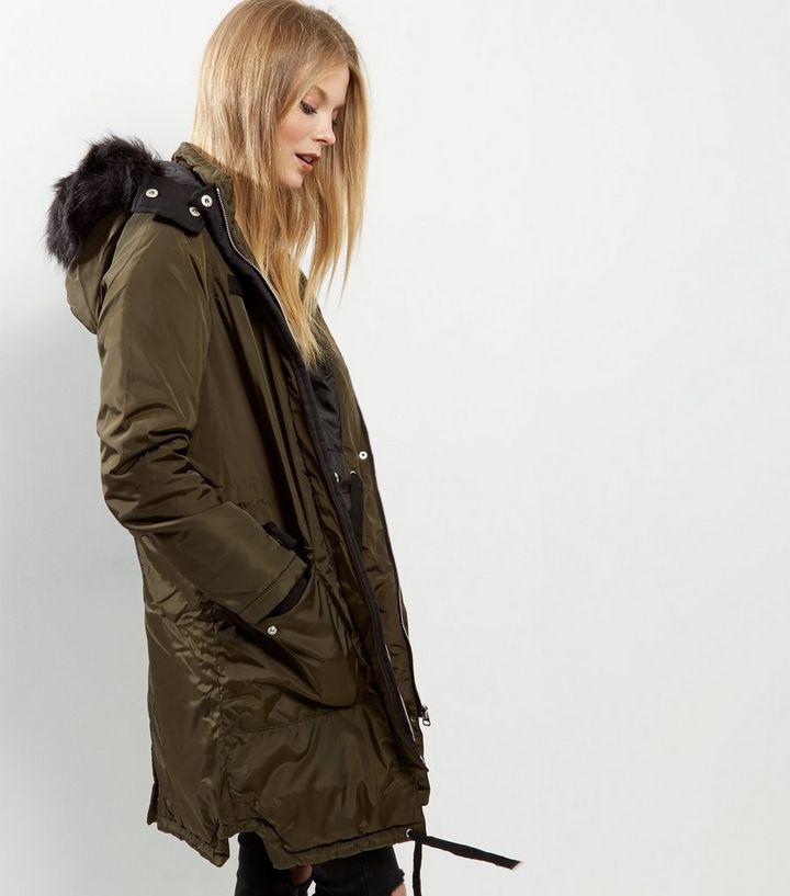 8a133f85a4 Brave Soul Khaki Faux Fur Trim Hooded Parka | New Look