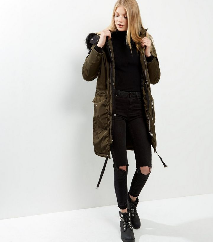 b66fd04f997bb ... Jackets · Brave Soul Khaki Faux Fur Trim Hooded Parka. ×. ×. ×. Shop  the look