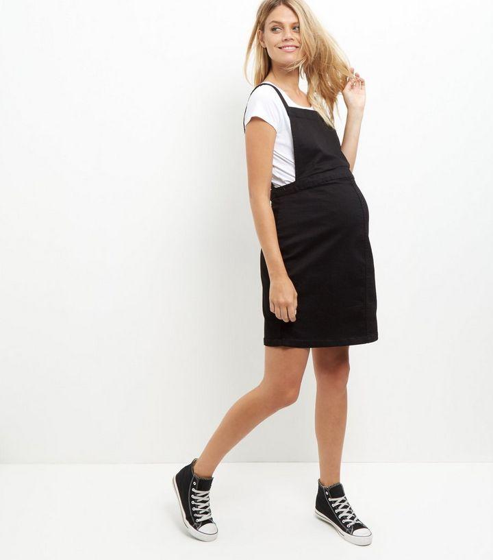 Maternity Black Denim Pinafore Dress New Look