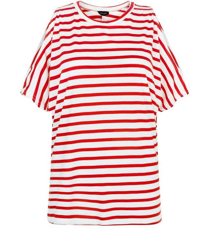 d92da6362e921 White Stripe Cold Shoulder Oversized T-Shirt