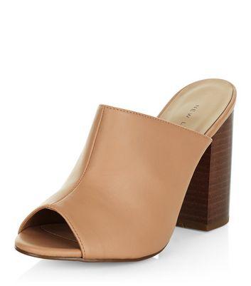 Nude Peep Toe Block Heel Mules | New Look