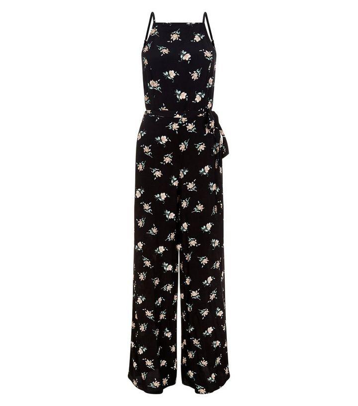 ee4150781c Black Floral Print Tie Waist Wide Leg Jumpsuit