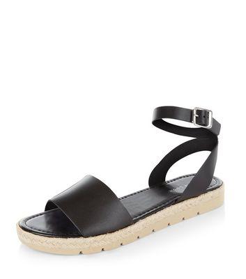 Black Leather Ankle Strap Espadrille