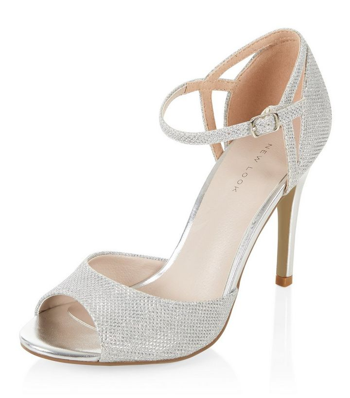 385890915dc Silver Glitter Ankle Strap Peep Toe Heels