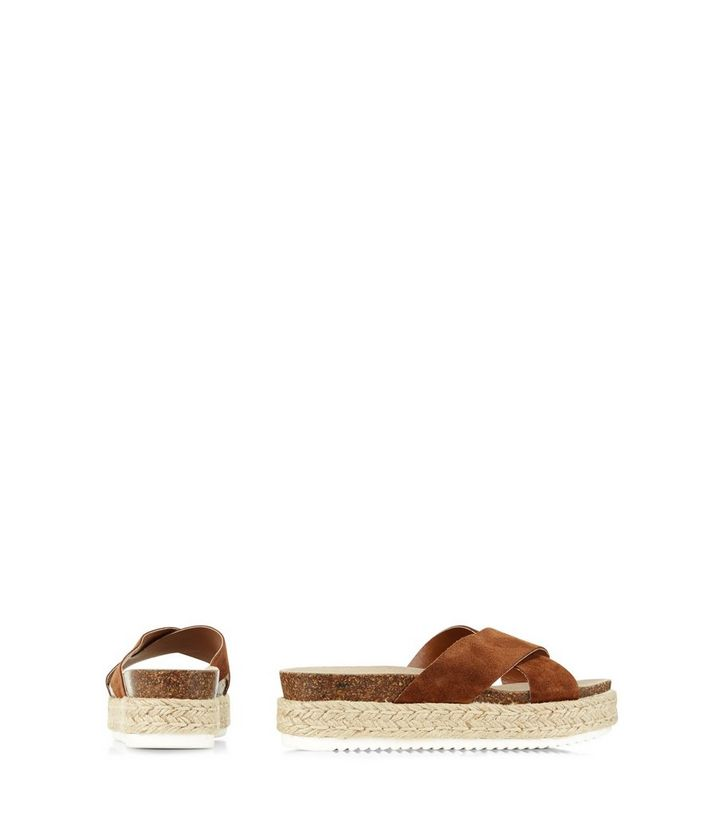 0126eb677bc ... Tan Suede Cross Strap Espadrille Sandals. ×. ×. ×. VIDEO Shop the look