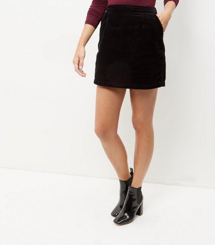 fd12f9320a Black Cord A-Line Skirt | New Look