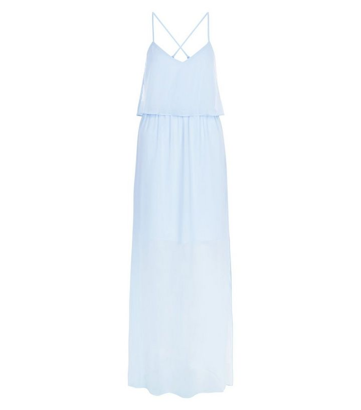 c86e77ef7c6d5 Blue Chiffon Layered Maxi Dress | New Look