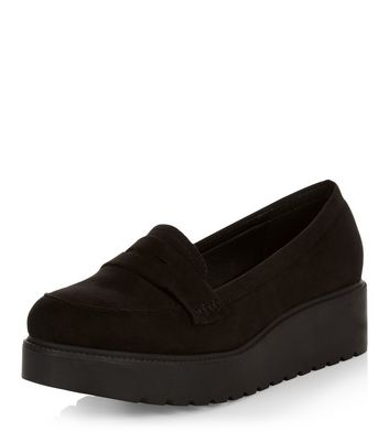 Fit Effet Wide Creeper Noire Suédine Chaussures New En Look qtF4Wnw