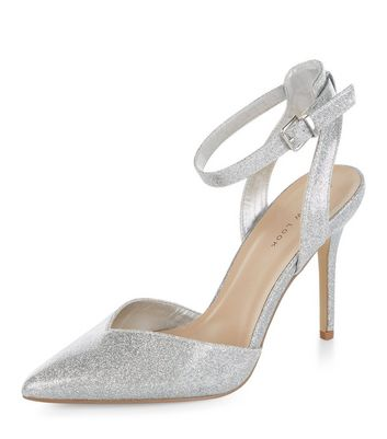 Silver Glitter Ankle Strap Pointed