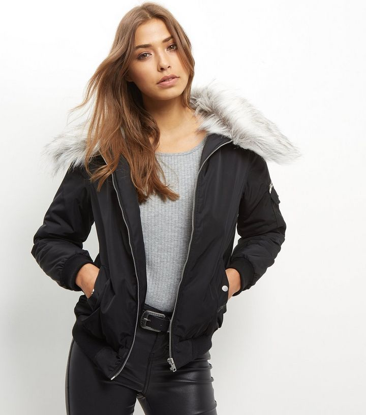 b38a70874 Black Faux Fur Collar Bomber Jacket Add to Saved Items Remove from Saved  Items