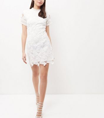 AX Paris Cream Lace High Neck Dress New Look