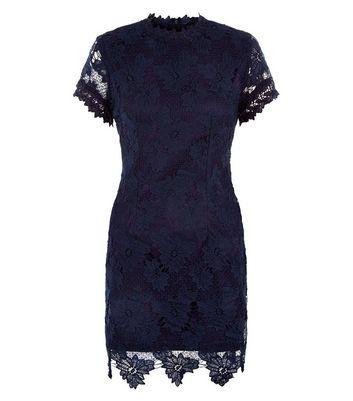 AX Paris Navy Lace High Neck Dress New Look