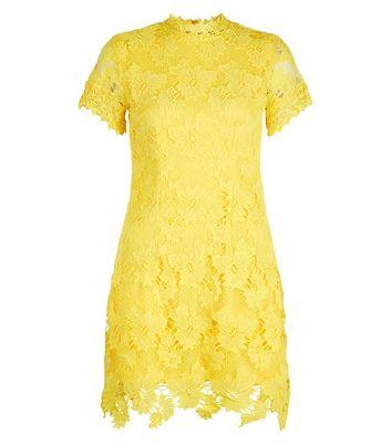 AX Paris Yellow Lace High Neck Dress New Look