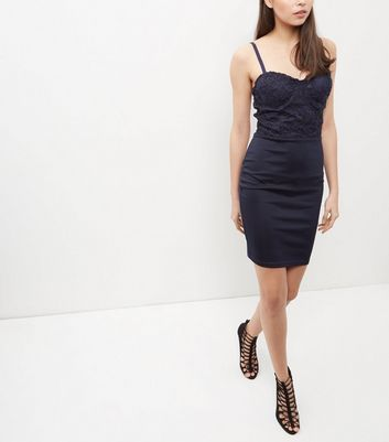 AX Paris Navy Lace Panel Strappy Dress