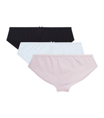 Teens 3 Pack Black White and Pink Briefs New Look