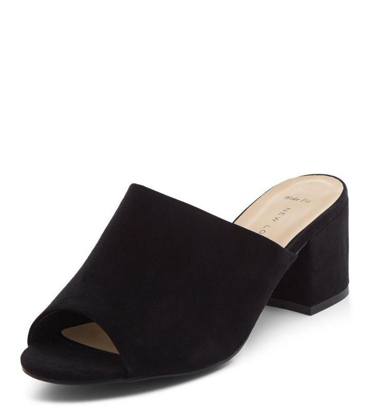 be833d7605 Wide Fit Black Peep Toe Block Heel Mules | New Look