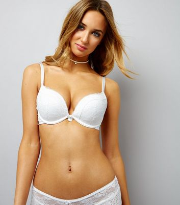 Cream Lace Push Up Bra