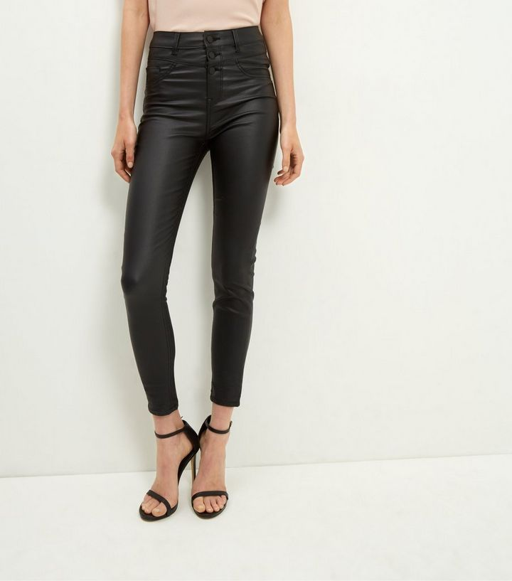 42de040ab3fe0 Black Coated High Waisted Skinny Jeans