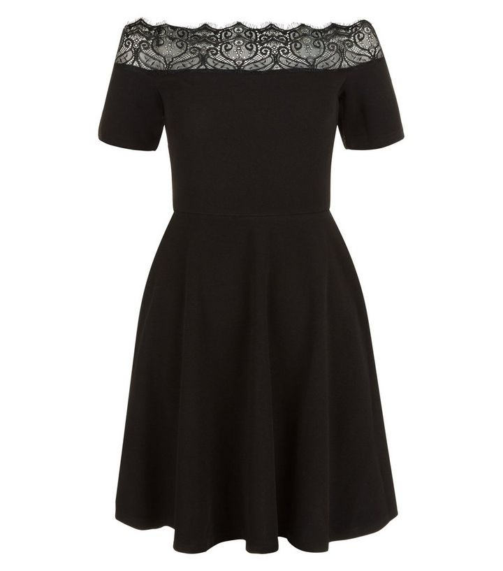 4febb288c1 Black Lace Trim Bardot Neck Skater Dress