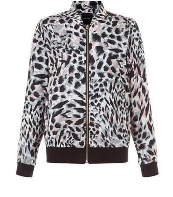 White Animal Print Bomber Jacket New Look