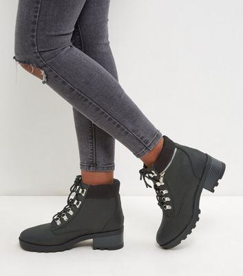 Black Lace Up Chunky Ankle Boots   New Look