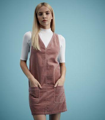 New Look Mauve Pinafore Cord Pocket Mini V Neck Sleeveless Tunic Pink Dress 6 8
