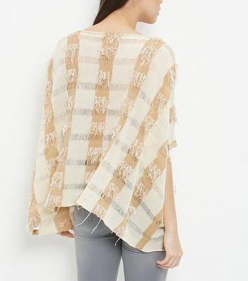 Apricot Stone Check Fringed Top New Look