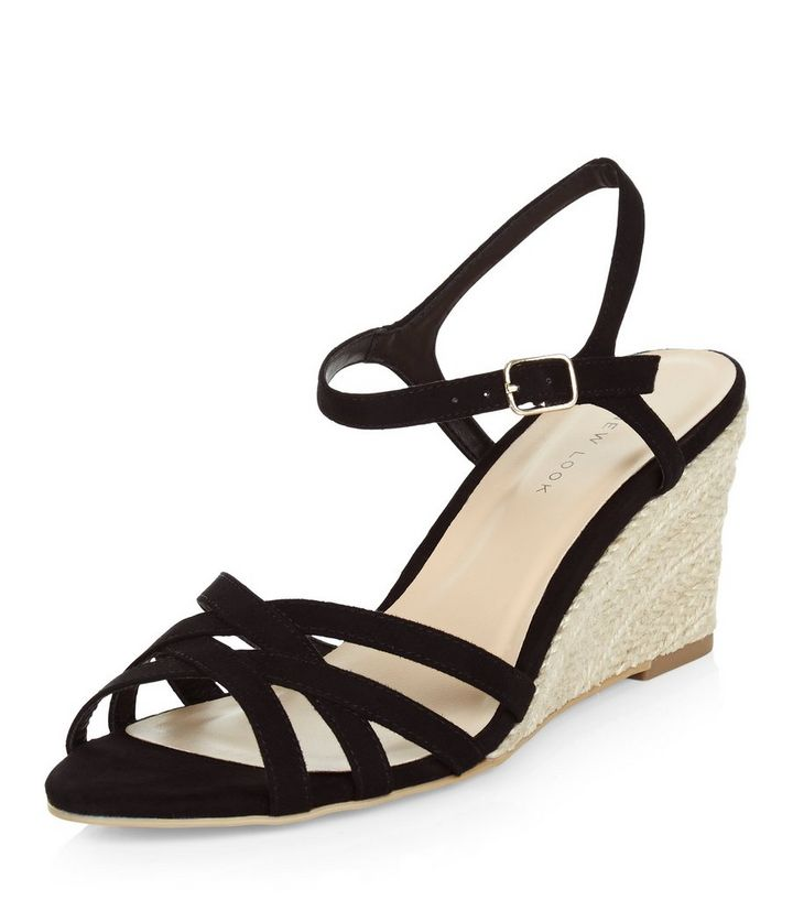 6636bbfa944 Black Cross Strap Espadrille Wedges Add to Saved Items Remove from Saved  Items