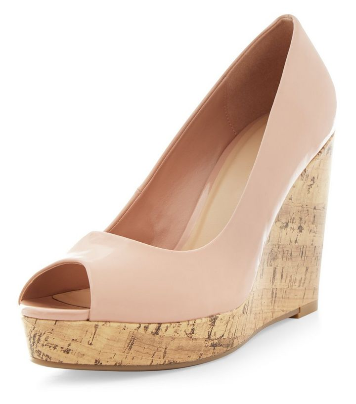 27714eedd893 Nude Patent Peep Toe Wedge Sandals
