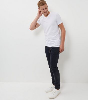 White Muscle Fit Mix Stretch T-Shirt New Look