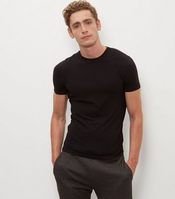 Black Muscle Fit Crew Neck T-Shirt New Look