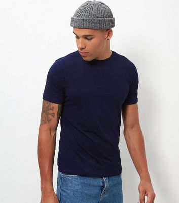 Navy Muscle Fit Crew Neck T-Shirt New Look