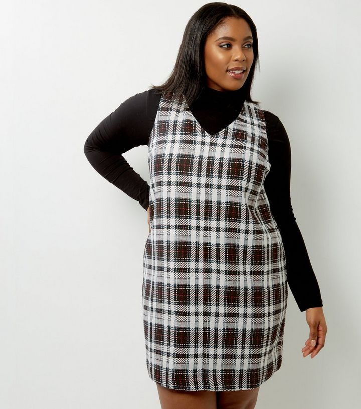 330ada13c8 Curves White Check Pinafore Dress