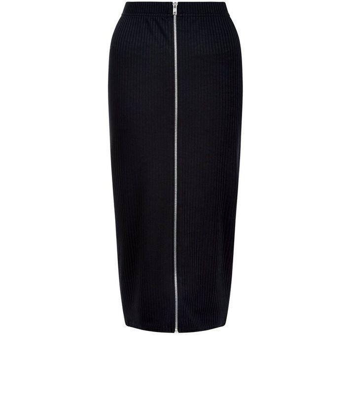 8aa7362f05 Black Ribbed Zip Front Midi Skirt | New Look