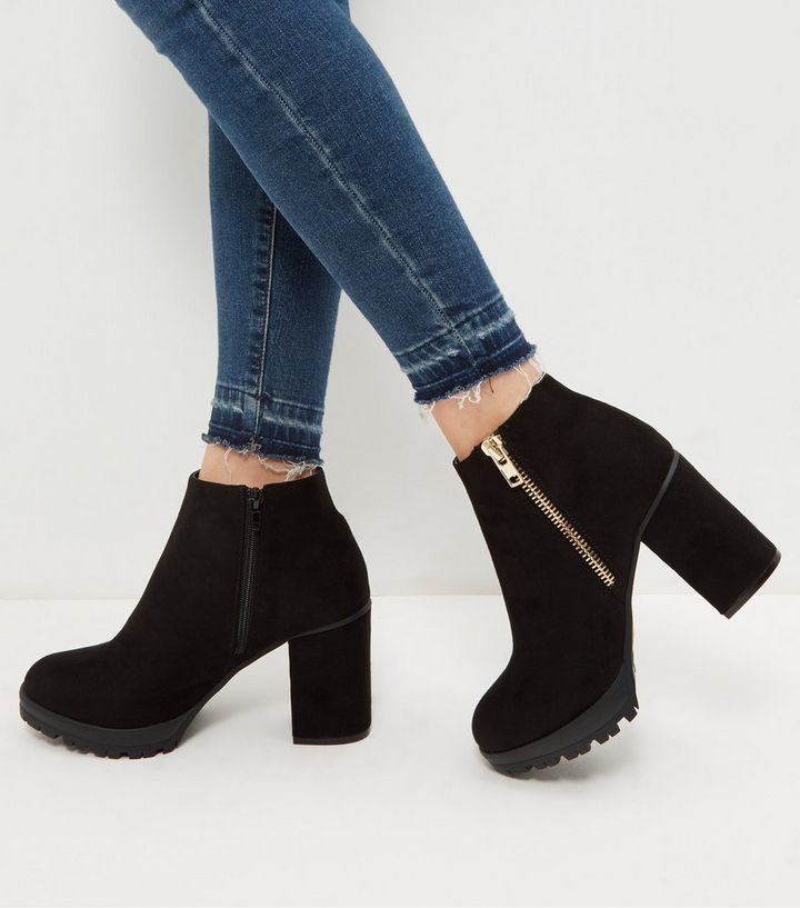 a7e13c2abdf Wide Fit Black Suedette Chunky Block Heel Ankle Boots