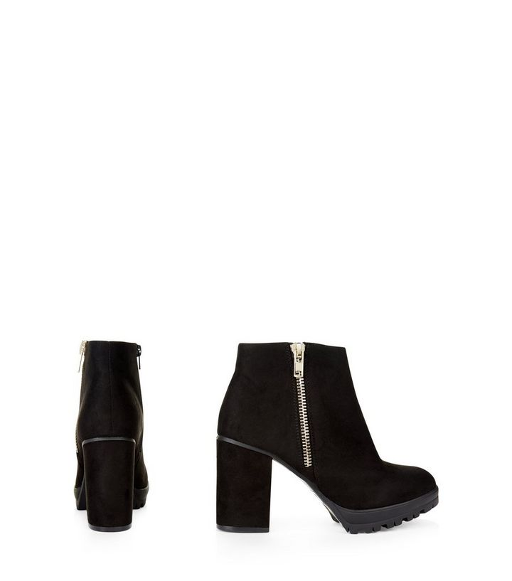 ab514f95a3e Wide Fit Black Suedette Chunky Block Heel Ankle Boots Add to Saved Items  Remove from Saved Items