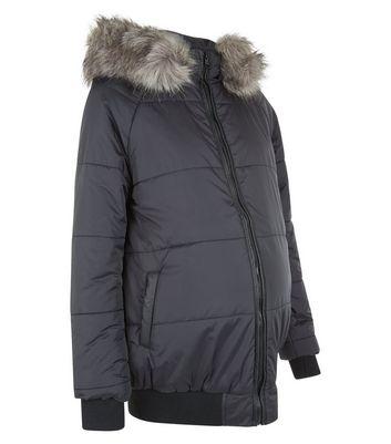 Maternity Black Faux Fur Trim Puffa Jacket New Look