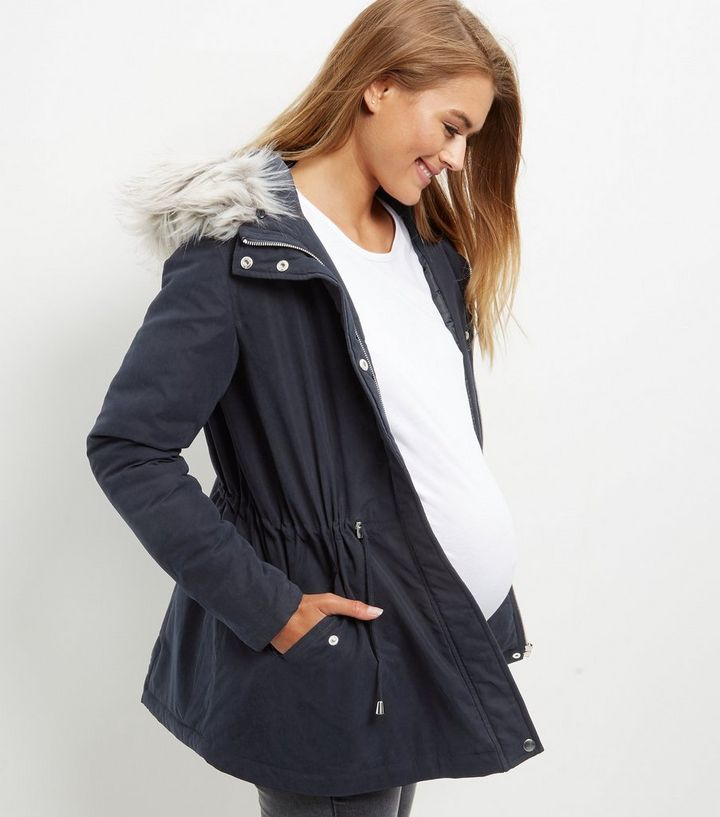 2934430e62bc1 Maternity Navy Faux Fur Trim Hooded Parka Jacket | New Look