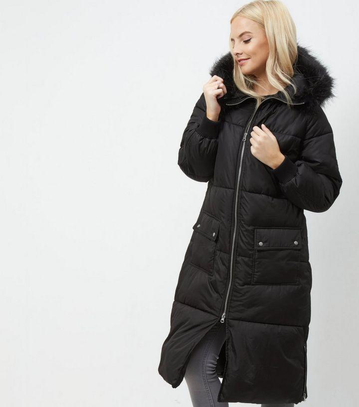 ... manteaux Femme · Petite - Manteau long noir à capuche bordée de fausse  fourrure. ×. ×. ×. Shopper le look 1e889f2b979e