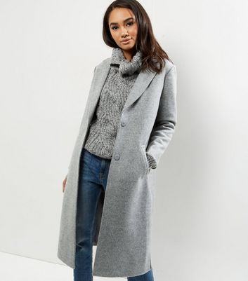 Petite Grey Split Side Longline Coat Add to Saved Items Remove from Saved Items