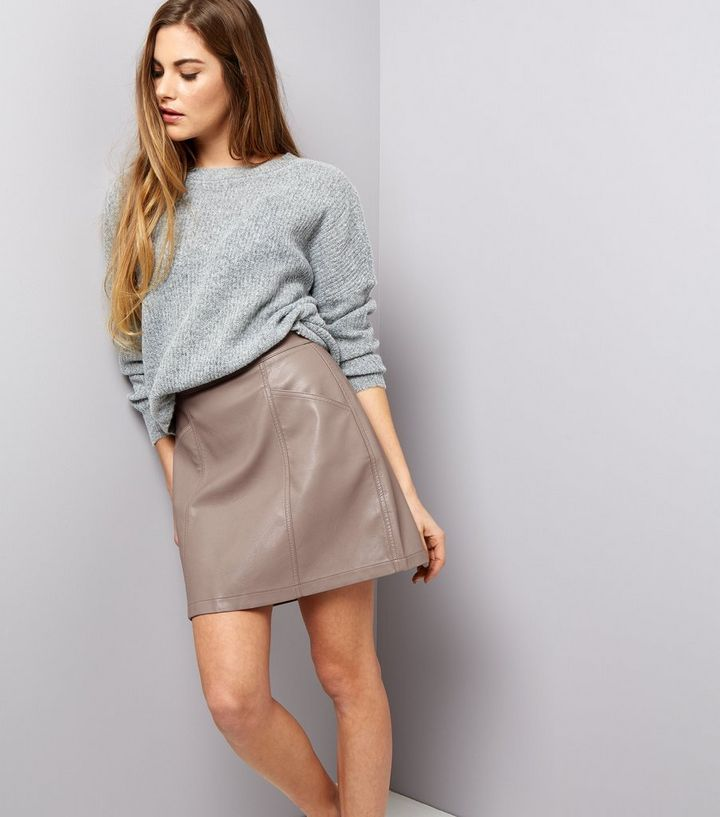 edc0ecebd Mink Seam Trim Leather-Look Mini Skirt | New Look