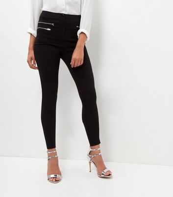 Tall Black 3 Zip Slim Leg Stretch Trousers
