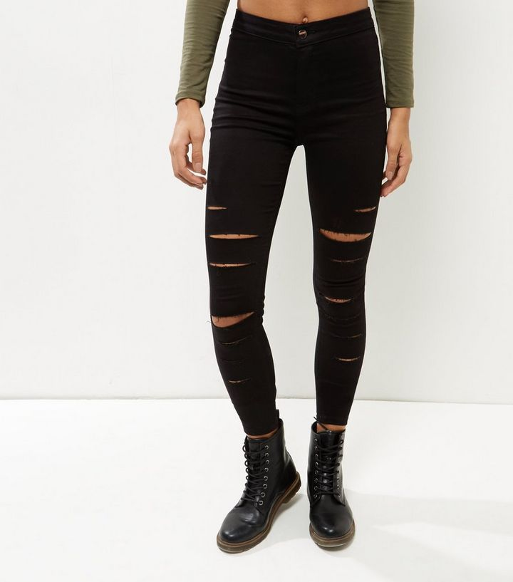 11394525d4b8 Black Extreme Ripped High Waist Super Skinny Jeans | New Look