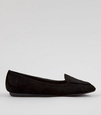 Girls Black Suedette Pointed School Loafers