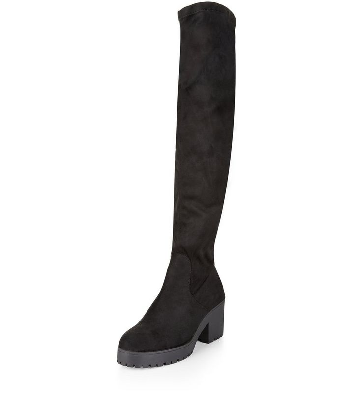7c8f30a55a77 Wide Fit Black Suedette Block Heel Over The Knee Boots