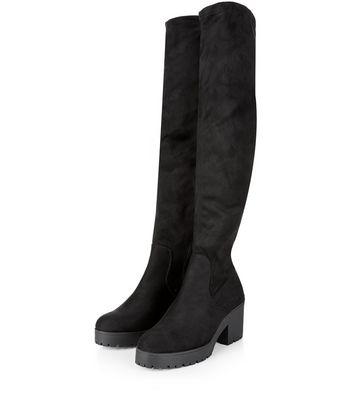 Wide Fit Black Suedette Block Heel Over