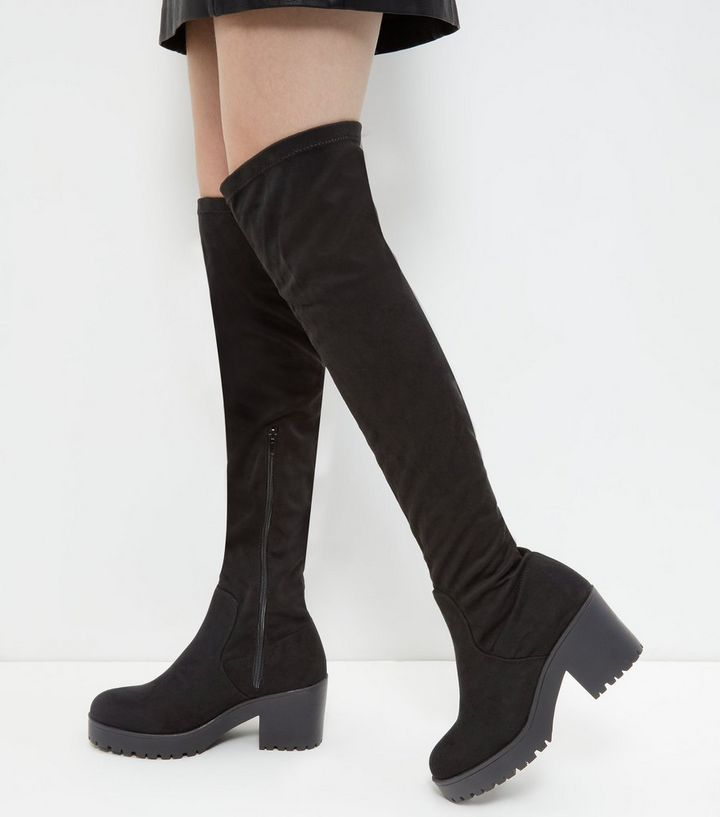 81b04af53fc Wide Fit Black Suedette Block Heel Over The Knee Boots | New Look